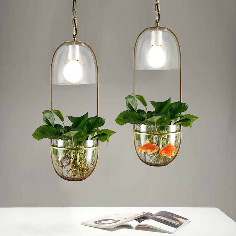 创意北欧可养植物灯铁艺玻璃餐厅吧台过道阳台LED植物水培吊灯