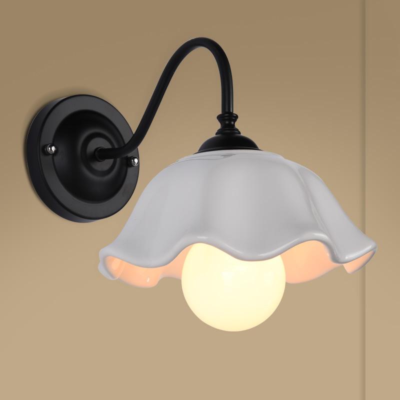 创意款产地货源美式简约餐厅壁灯客厅咖啡厅装饰灯陶瓷墙LED壁灯
