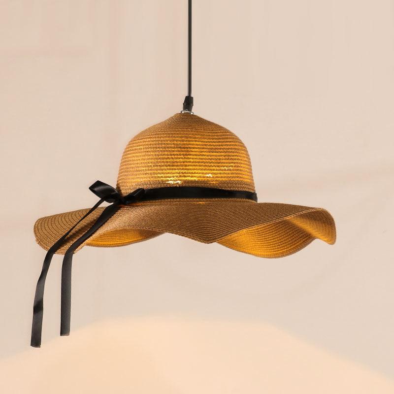 创意款北欧现代简约藤艺灯餐厅酒吧客厅灯编织草帽藤东南亚风吊灯