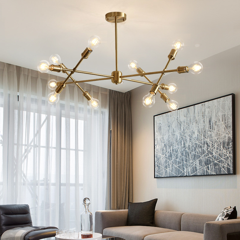 后现代轻奢吊灯全铜客厅灯饰简约餐厅卧室设计师北欧分子魔豆灯具