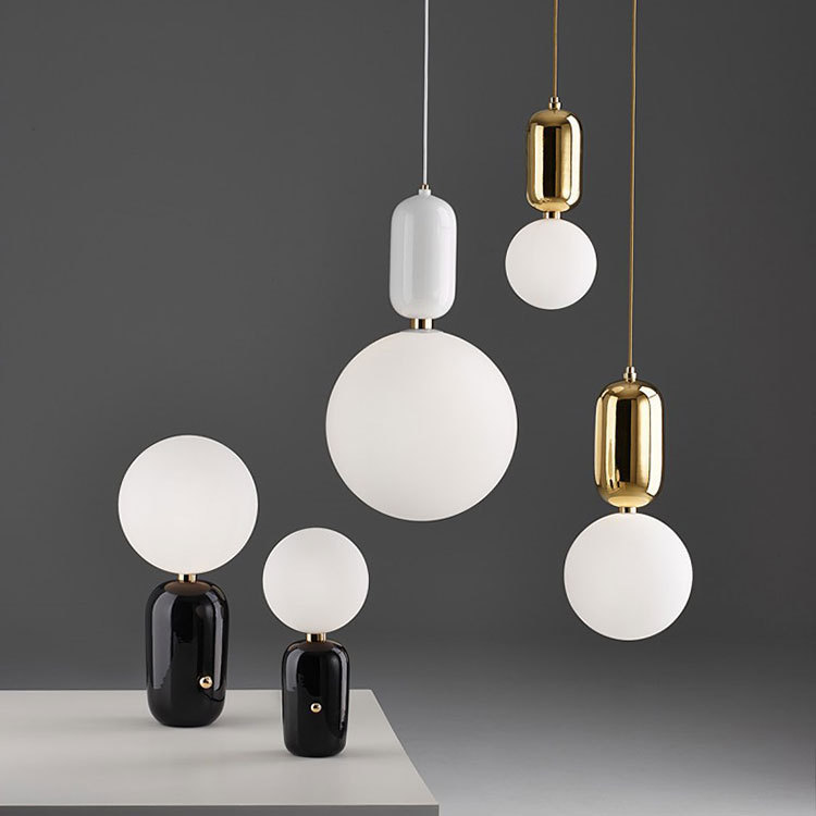 北欧创意感叹号金色奶白球吊灯卧室床头餐厅客厅橱窗圆球LED吊灯
