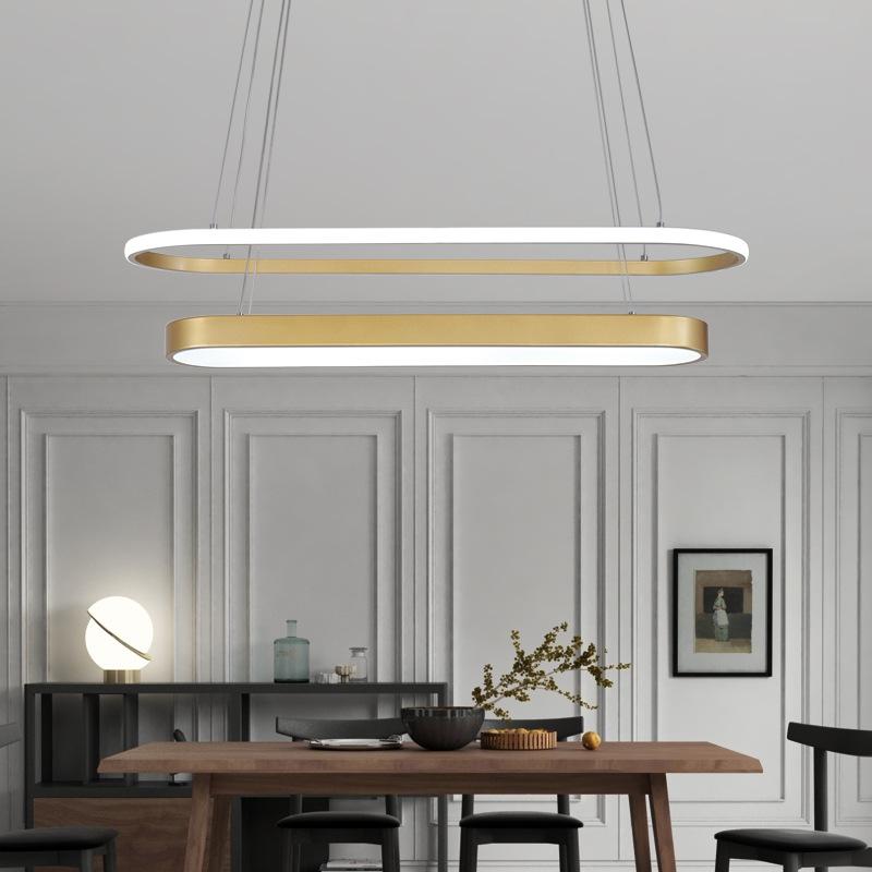 2020新款椭圆金色餐厅客厅简约现代创意艺术吧台吊灯led长条吊灯