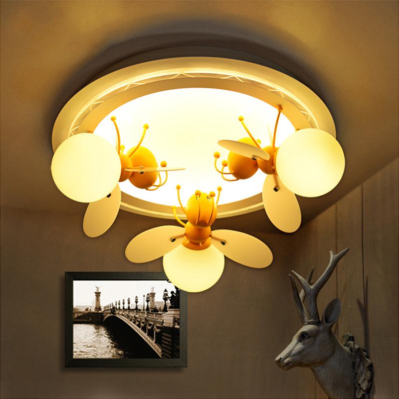 卡通动物儿童卧室萤火虫灯男女孩房间简约LED创意个性蜜蜂吸顶灯