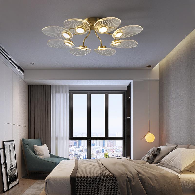 简约北欧风格纯铜金色客厅灯卧室创意个性餐厅网红LED轻奢吸顶灯