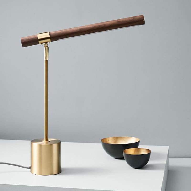 北欧灯具创意个性后现代简约设计师木纹铜色书房卧室床头led台灯