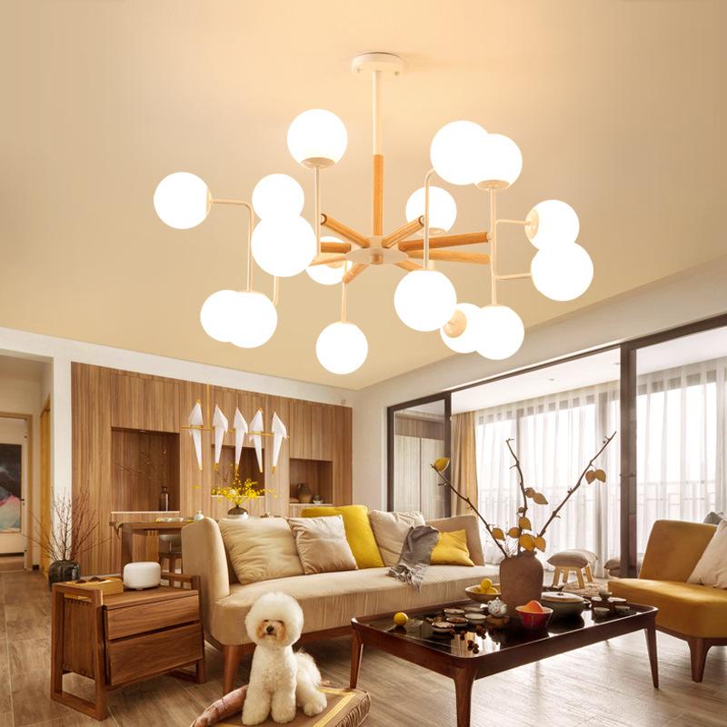 北欧简约现代创意个性原木魔豆树枝分子玻璃圆形卧室餐厅LED吊灯