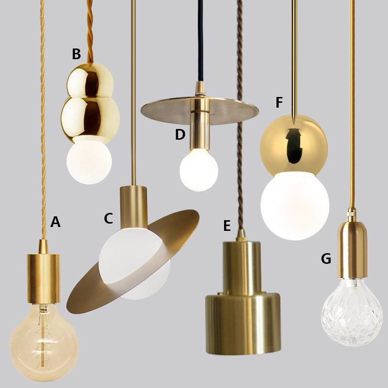 北欧吊灯复古INS风LOFT创意金色卧室床头吊灯玄关吧台橱窗LED吊灯
