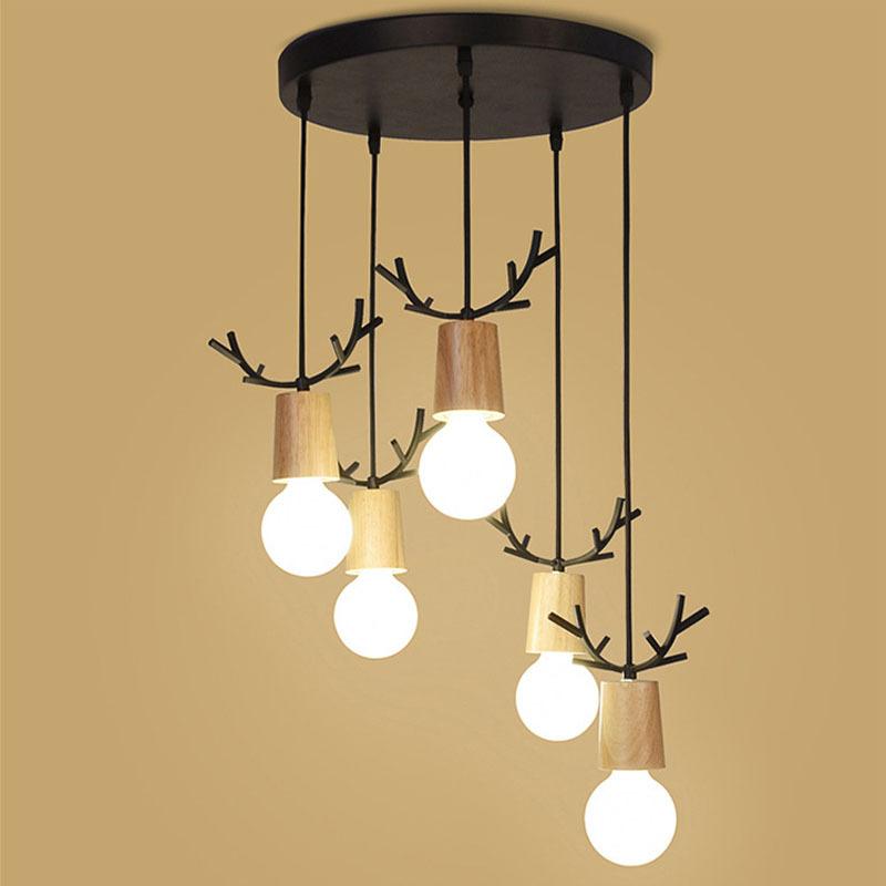 小鹿头吊灯北欧卧室床头客厅玄关创意个性过道走廊楼梯LED实木灯