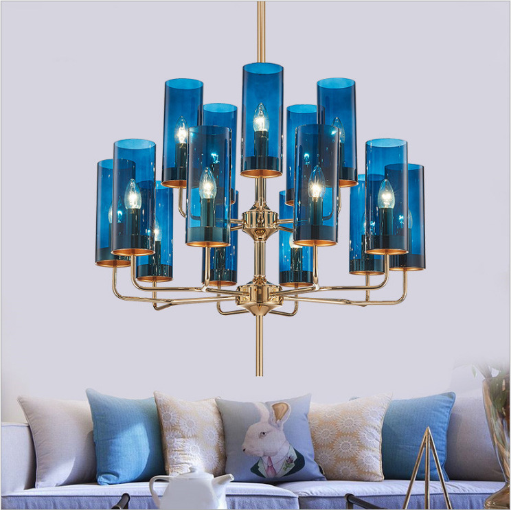 后现代简约客厅吊灯轻奢艺术卧室灯创意个性餐厅吊灯蓝色玻璃灯具