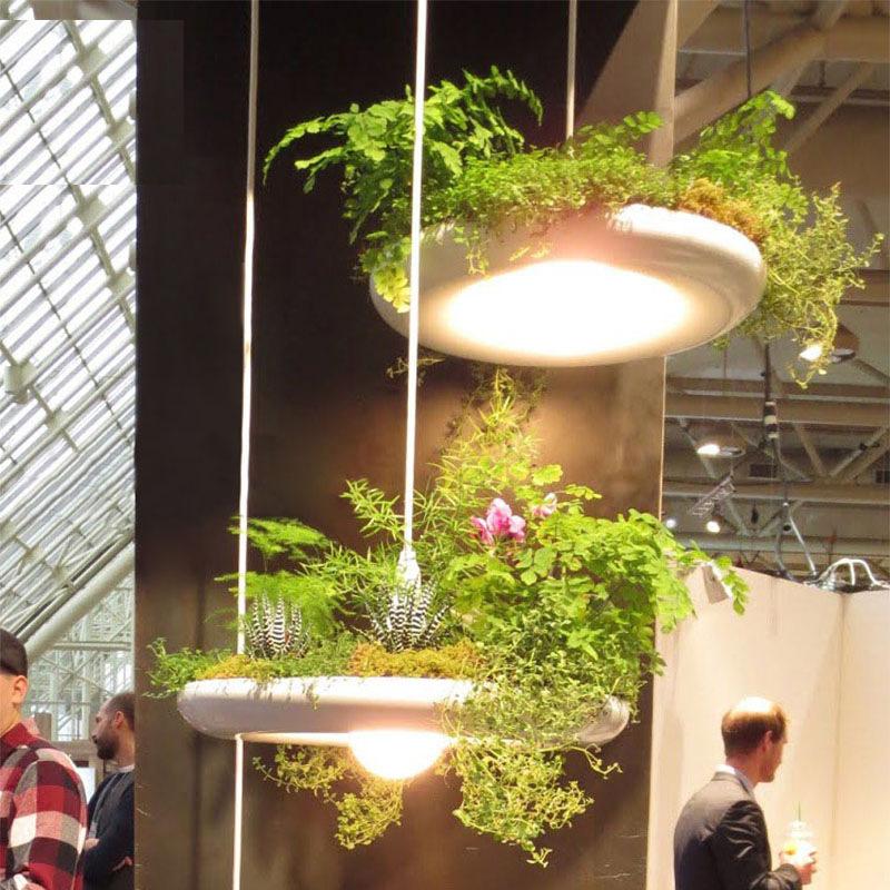 设计师灯铝材艺术灯花盆空中花园田园盆栽植物餐厅咖啡厅创意吊灯