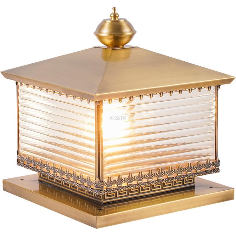 全铜围墙灯柱头灯庭院小区方形墙头柱灯室外防水别墅花园大门柱灯