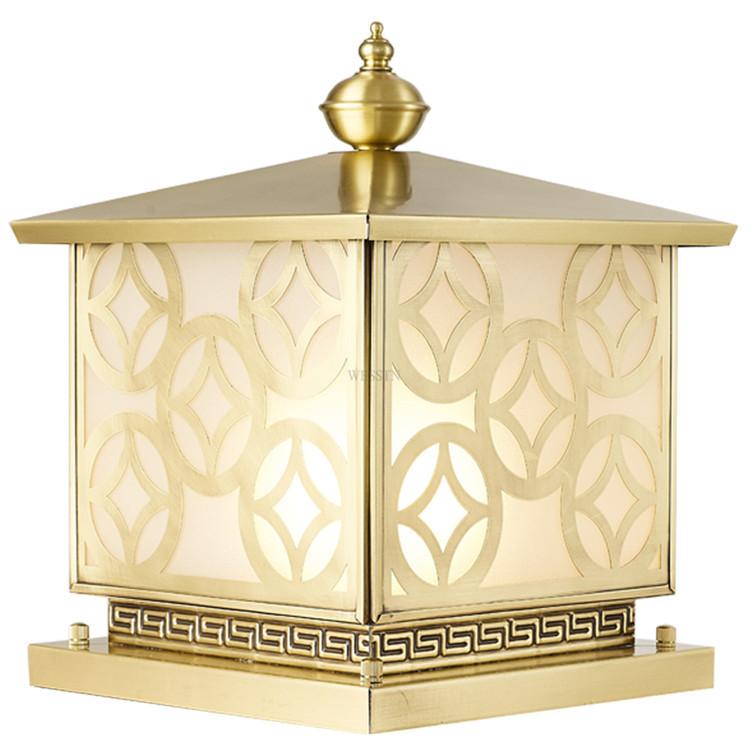 全铜围墙灯户外防水新中式接电柱头灯方形别墅入户大门纯铜柱子灯