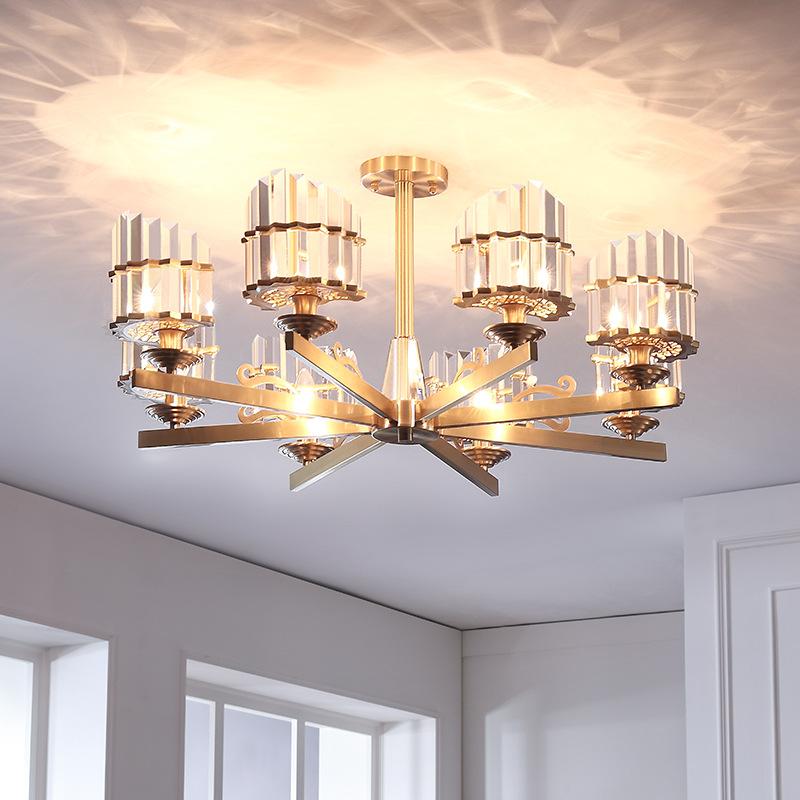 2019后现代全铜水晶吊灯北欧风格客厅卧室灯简约现代创意个性灯具