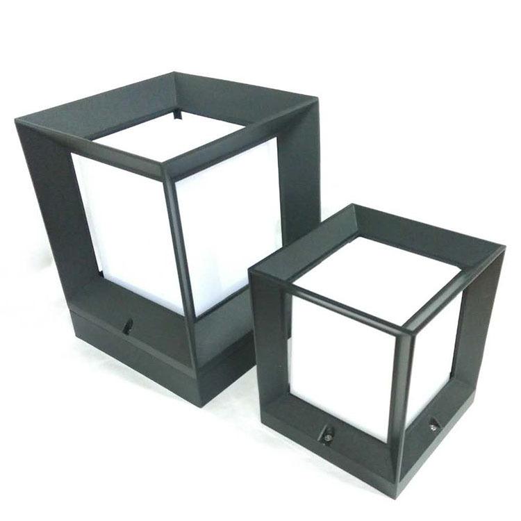 LED四方柱头灯外壳 太阳能草坪灯外壳户外防水led庭院灯外壳厂价