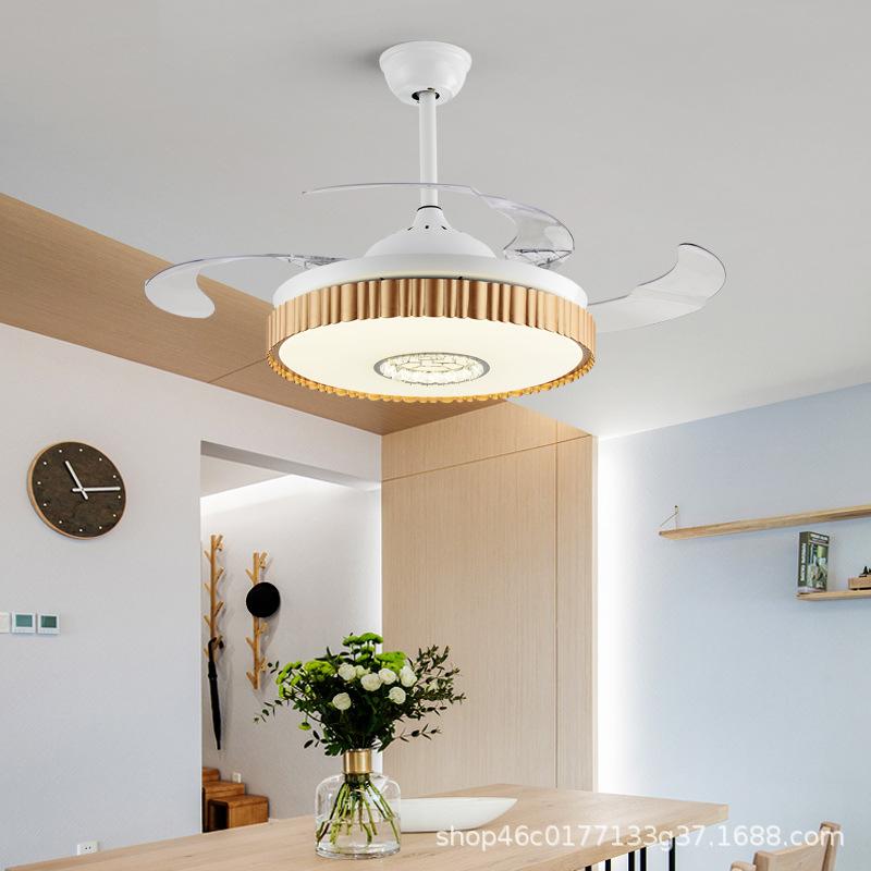 厂家直销木质边框现代简约可遥控客厅卧室风扇灯百搭款吸顶风扇灯
