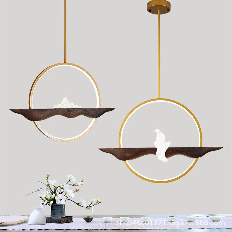 新中式吊灯圆形中国风禅意现代简约中式茶室书房房间餐厅吊灯