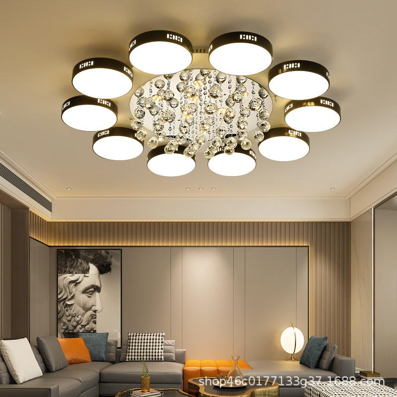 灯具 现代简约大气小户型客厅灯led吸顶水晶花瓣家用卧室2020新款