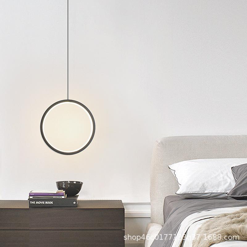 现代简约LED办公室吊灯北欧餐厅大堂展厅工业风圆圈环形创意灯具