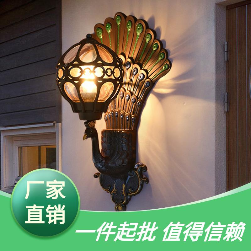 欧美式创意孔雀壁灯复古压铸户外壁灯 防水别墅庭院灯 门口走廊灯