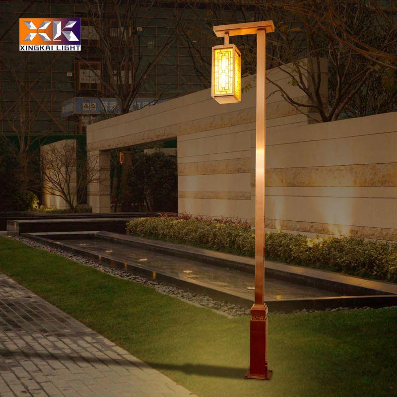 新中式不锈钢庭院灯 定制镀铜拉丝庭院灯 订制3米高仿古铜庭院灯