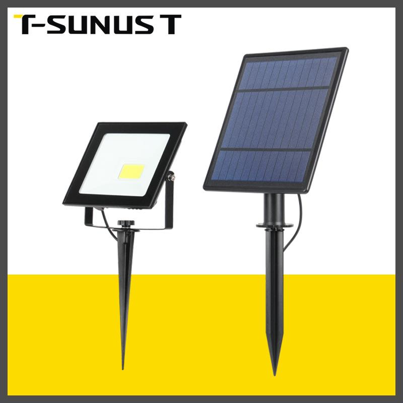 太阳能地插投光灯COB单头压铸铝防水室外照明灯花园院子道路射灯