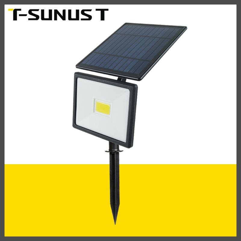 跨境新款太阳能地插投光灯COB压铸铝防水室外照明灯花园道路射灯