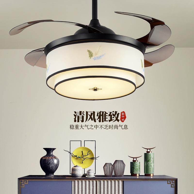 隐形风扇灯吊扇灯餐厅客厅简约电扇灯家用卧室静音新中式风扇吊灯
