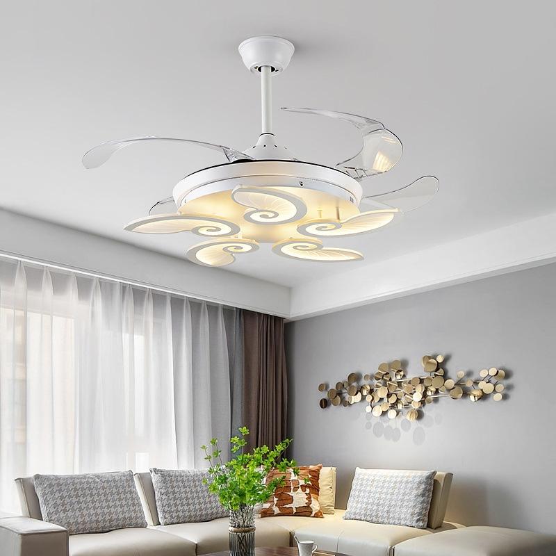 新中式风扇吊灯客厅卧室变频吊扇灯现代简约餐厅隐形电扇灯带静化