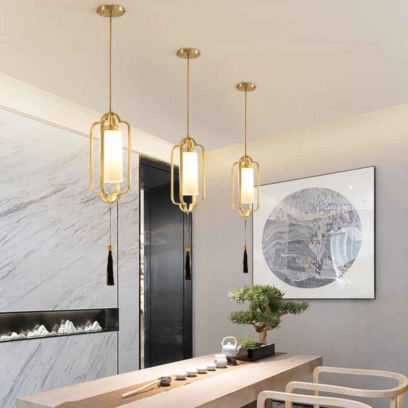 全铜新中式小吊灯床头走廊过道阳台玄关中国风禅意茶室餐厅吧台灯
