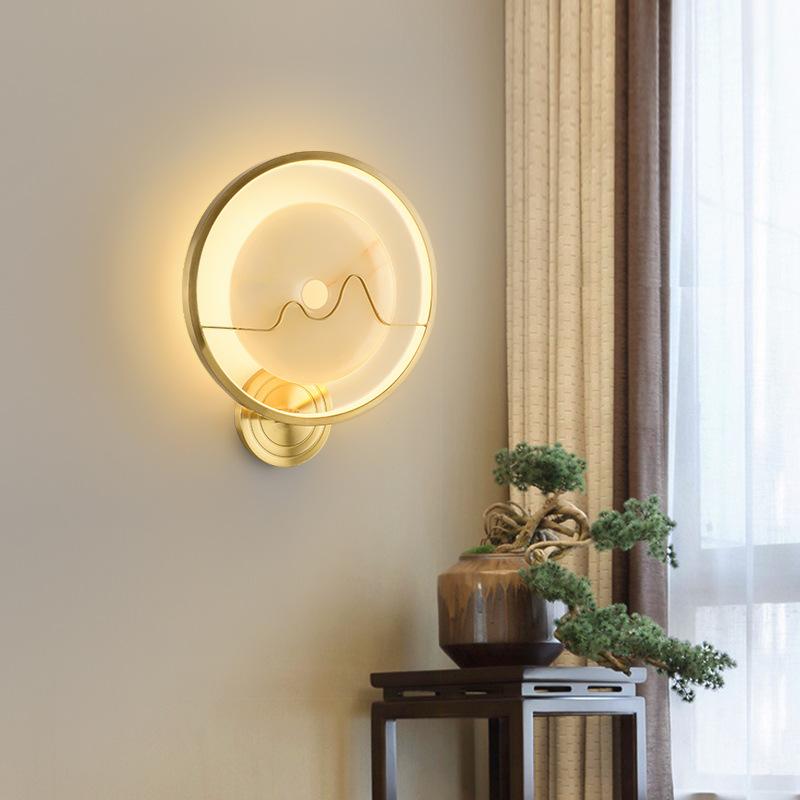 全铜新中式壁灯卧室床头客厅中国风走廊过道玄关灯轻奢简约墙壁灯