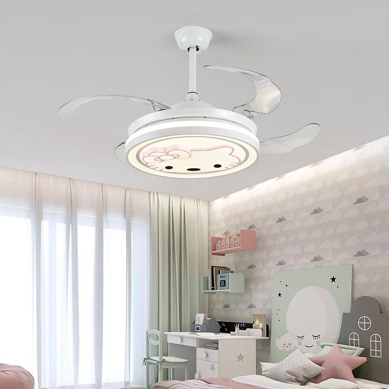 变频隐形吊扇灯北欧餐厅家用现代简约风扇灯客厅卧室儿童房风扇灯