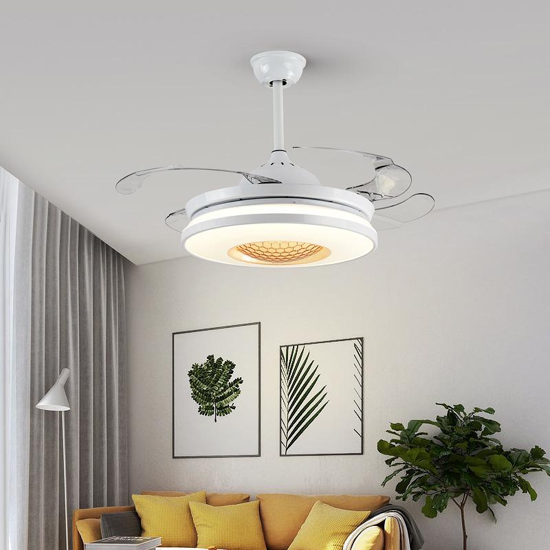 现代简约家用风扇灯变频隐形吊扇灯北欧餐厅客厅卧室带电风扇吊灯