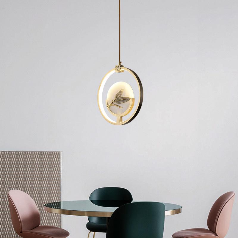 现代新中式全铜吧台吊灯单头玄关走廊过道卧室床头中国风玉石灯具