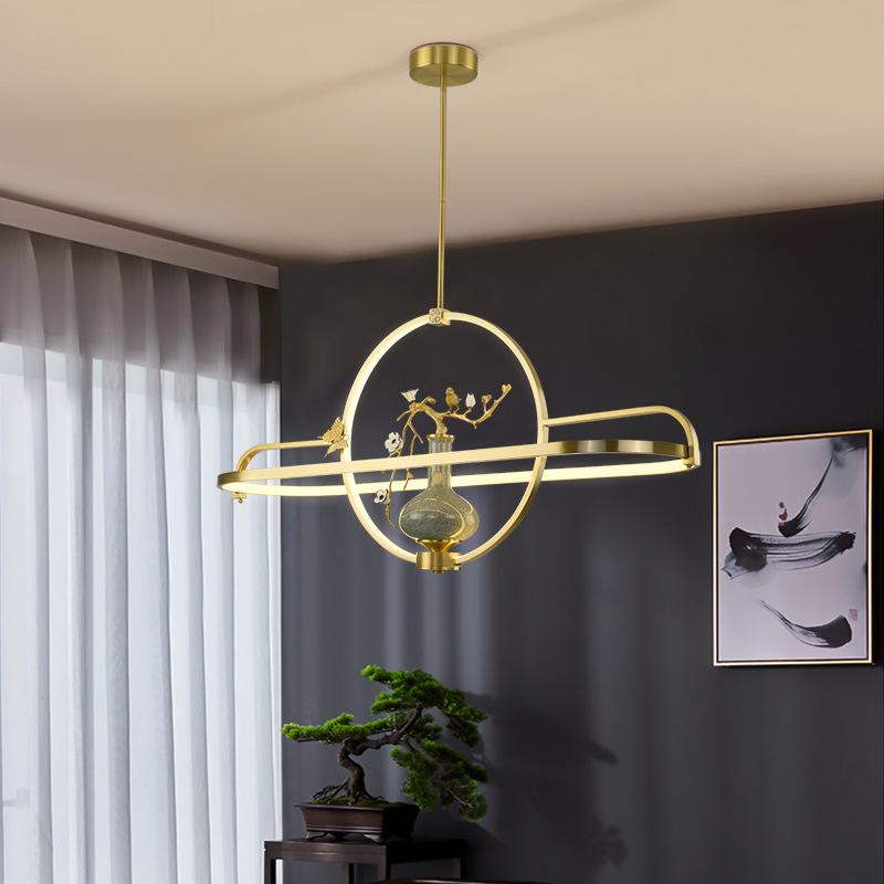 全铜现代新中式吊灯禅意中国风茶室灯客厅灯创意简约吧台餐厅灯具