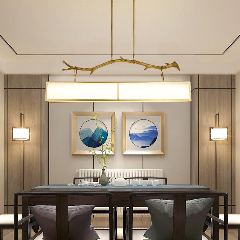 新中式全铜吊灯咖啡厅吧台灯灯现代客厅卧室灯创意酒店餐厅吊灯具