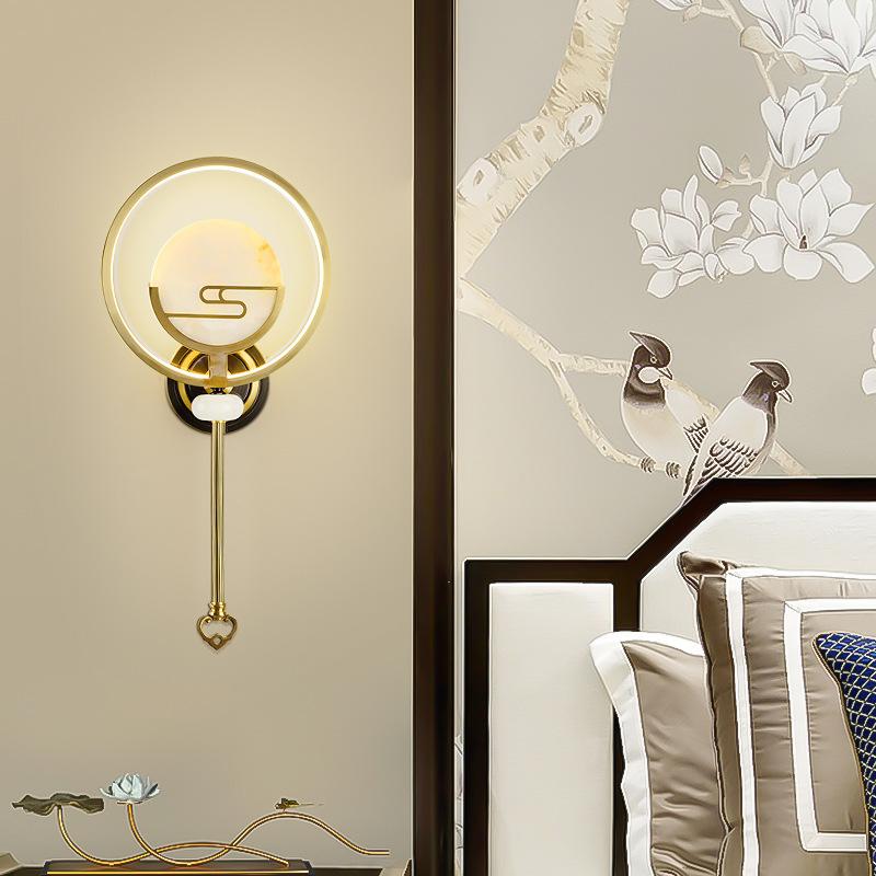 全铜新中式壁灯卧室床头灯客厅电视墙灯创意过道走廊过道装饰灯具