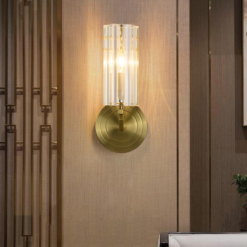 新中式全铜壁灯轻奢简约装饰壁灯美式客厅卧室背景墙水晶酒店壁灯