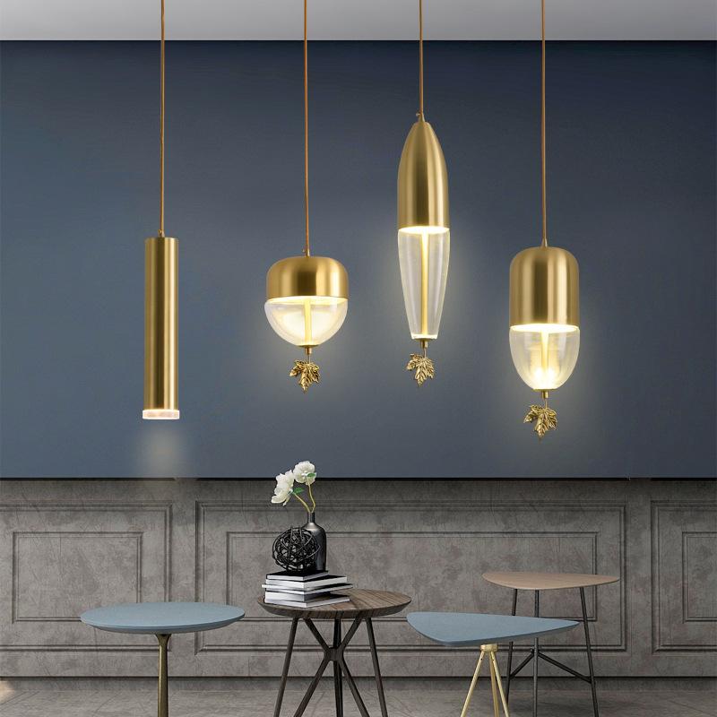 新中式餐厅小吊灯北欧卧室床头创意组合吧台灯后现代简约玻璃吊灯