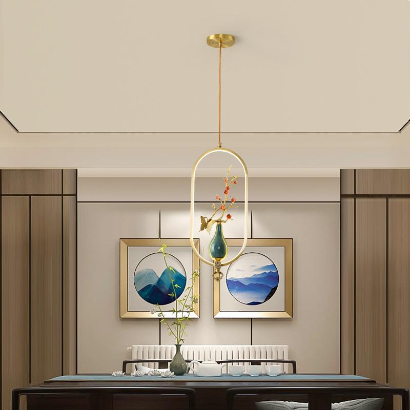 全铜新中式小吊灯单头餐厅灯床头吧台走廊玄关阳台禅意中国风灯具