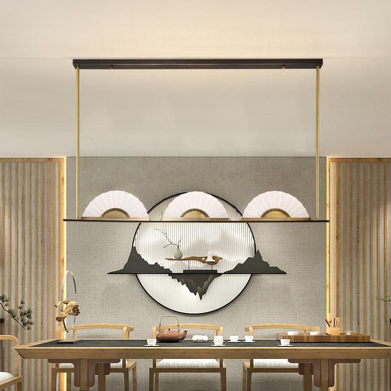 现代新中式全铜餐厅吊灯简约轻奢书房设计师中国风禅意茶室吧台灯