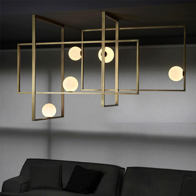 北欧工业风餐厅黄铜吊灯店铺吧台现代创意个性复古卧室方框吸顶灯