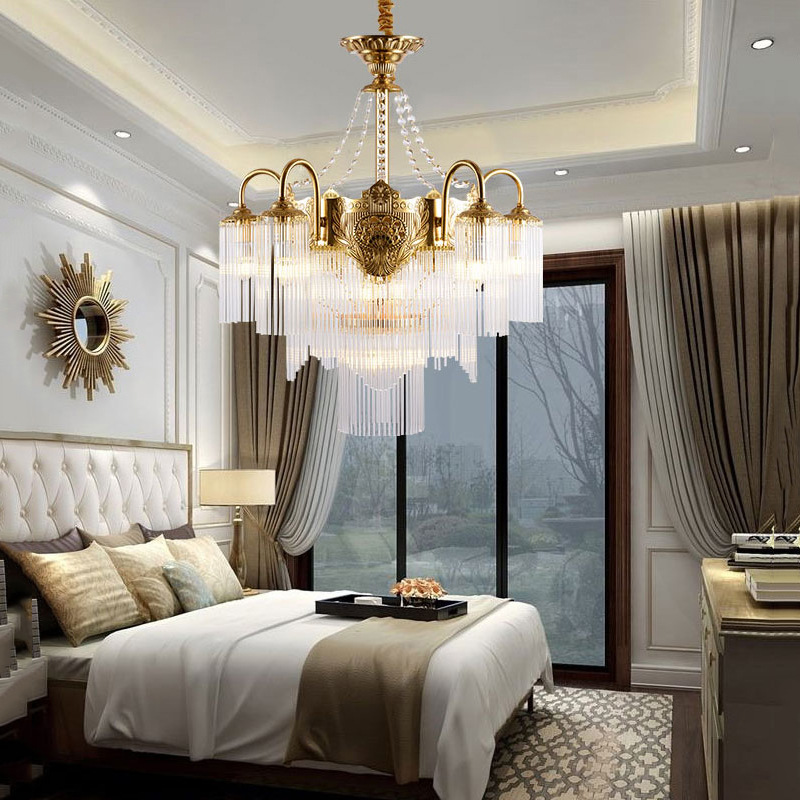 欧式吊灯法式客厅卧室餐厅大气水晶灯轻奢别墅复式楼梯创意灯具
