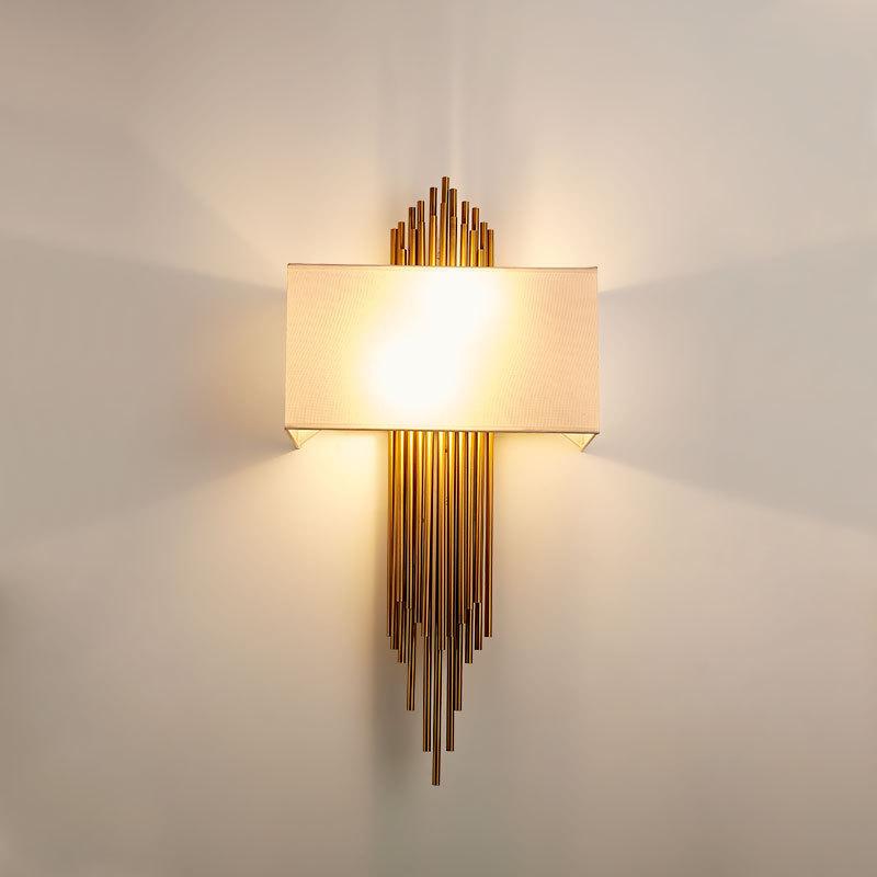 后现代创意个性复古工程样板房壁灯新中式酒店过道布艺墙灯中国风