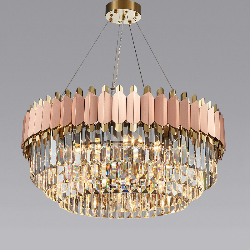 轻奢后现代水晶吊灯客厅创意大气餐厅卧室灯简约家用圆形水晶灯
