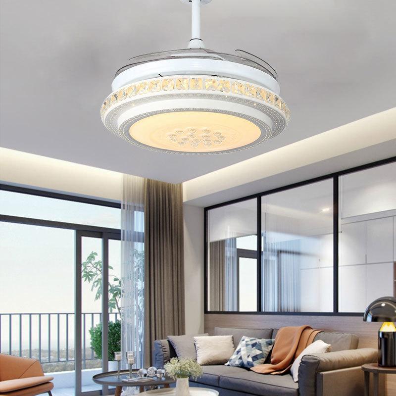 隐形吊扇灯餐厅风扇灯现代简约客厅家用灯具带电风扇LED创意吊灯