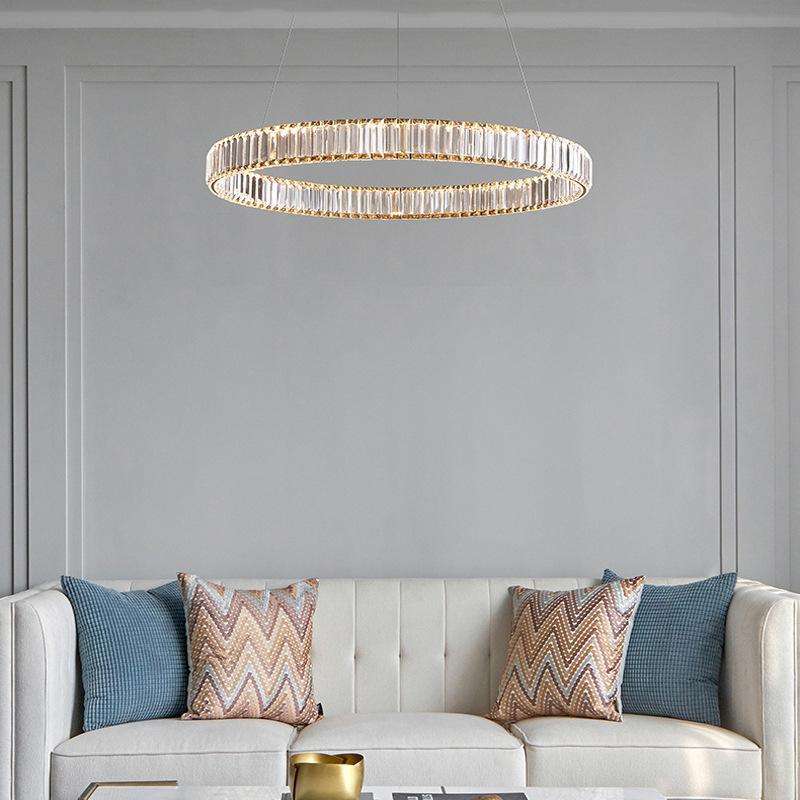 后现代轻奢圆形吊灯客厅简约大气卧室餐厅新款水晶灯创意个性灯具