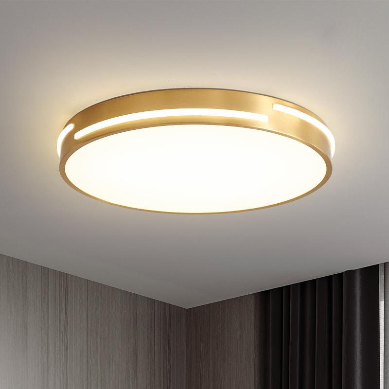 全铜LED卧室灯三色变光吸顶灯浪漫北欧圆形超薄房间现代简约灯具