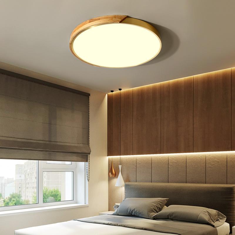 吸顶灯现代简约创意木质LED灯饰大气时尚样板间创意纯铜卧室灯具