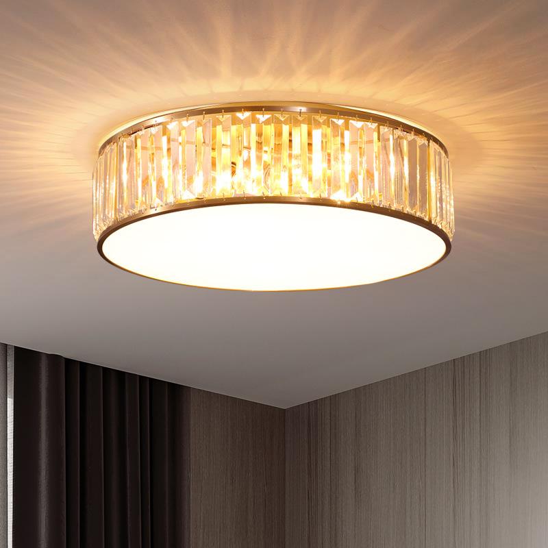 后现代轻奢水晶灯简约大气圆形餐厅灯创意房间全铜卧室吸顶灯具