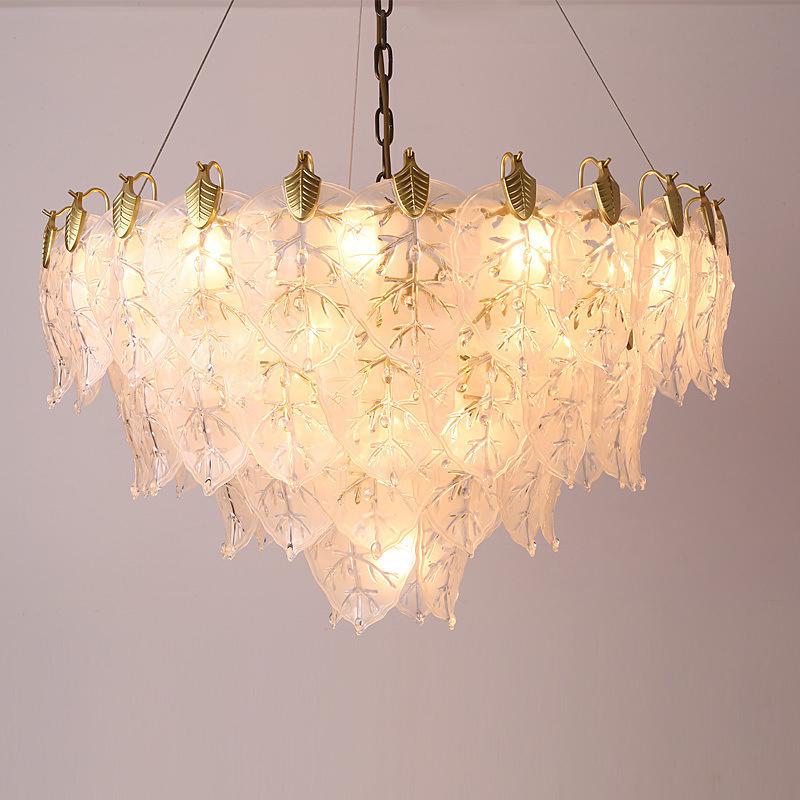 轻奢全铜玻璃吊灯客厅灯别墅酒店工程装饰后现代简约大气餐厅灯具